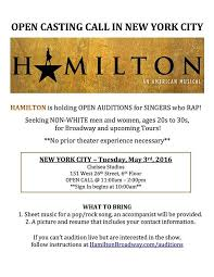 Seeking Cast Is Broadway Smash Hamilton Call Asks Specifically
