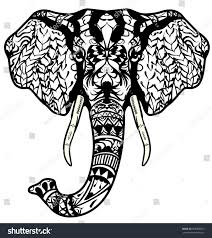 elephant head antistress coloring page stock vector