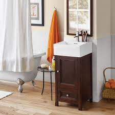 18 juliet bathroom vanity set in vintage walnut with ceramic sink