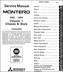 1992 1994 mitsubishi montero repair shop manual set original