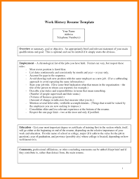 Resume Job History by 6 Employment History Template Authorize Letter