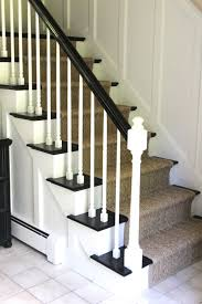 Black Banister Black Handrail White Spindles Diy How To Stain And Paint An Oak