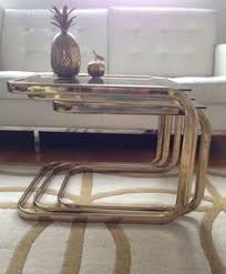 glass coffee table nest willy rizzo 70s gold chrome glass coffee table mid century