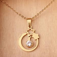 necklace for new design product stainless steel gold necklace with cz two
