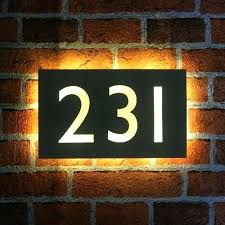 light up address sign house number light illuminated rectangle glass mirror house number