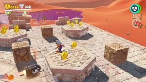 super mario odyssey sand kingdom power moon locations all head to the area where small bullet bills are coming out of the wall you ll notice a brick in the corner that has a slight glow