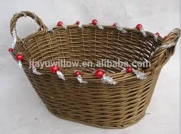 Christmas Gift Basket Handmade Silver And Gold Color Wicker Christmas Gift Basket
