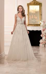 a line wedding dress a line wedding dress with plunging neckline stella york
