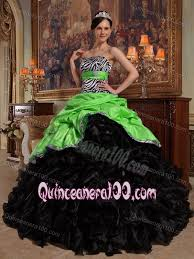 green and black zebra print dress for quince with sash and ruffled