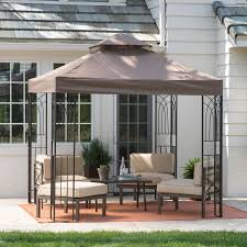 Wrought Iron Outdoor Patio Furniture by Exterior Appealing Patio Design With Cream Hardtop Gazebo And