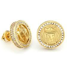 earrings gold hip hop earrings mens earrings bling bling earring iced out