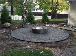 Patio And Firepit Paver Patio With Firepit Clearbrook Landscaping And Lawncare