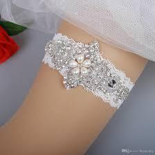 wedding garters bridal garters lace rhinestones pearls vintage prom