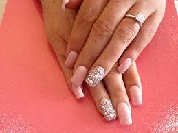 nice acrylic nail art design with gel polish and swarovski