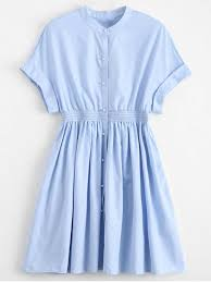 smocked waist button up casual dress light blue mini dresses s