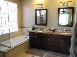 How To Paint Bathroom Cabinets Dark Brown Dark Brown Wooden Bathroom Double Vanity Having Double Rectangular