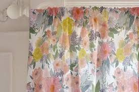 Floral Curtains Bold Watercolor Floral Curtain By Qing Ji Minted