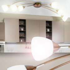 Esszimmer Deckenlampe Deckenlampe Halogen Leuchte Metall Glas Weiß Gold Esszimmer