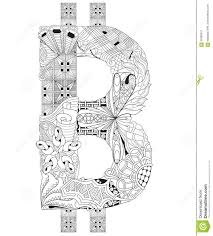 symbol of bitcoin zentangle vector decorative number stock vector