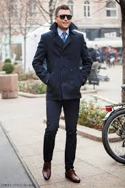 how to wear a navy and green pea coat with blue dress pants