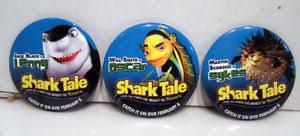 lot 3 buttons pins shark tale lenny oscar sykes