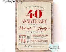 40th anniversary invitations 40th anniversary invitation ruby wedding anniversary