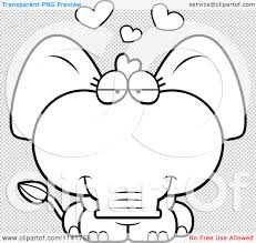 elephant love coloring page cartoon clipart of a black and white cute baby elephant in love