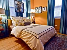 Dark Blue Bedroom by Bedroom Simple And Neat Blue And Orange Bedroom Decoration Using
