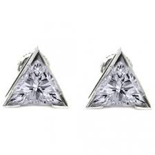 earring stud set shape solitaire diamond earring studs in 3 prong set trillion