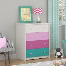 Small Bedroom Dressers Chests Kids Girls Bedroom 4 Drawer Dresser In White Pink Raspberry