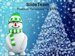 christmas greetings snowman with background powerpoint templates