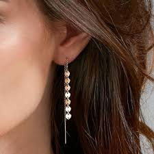 minimal earrings women modern gold color chain earrings small golden color