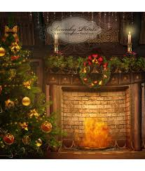 holiday vintage fireplace tree vinyl photography backdrop