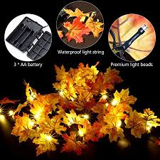 battery lighted fall garland amazon com thanksgiving decorations lighted fall garland 14 7 feet