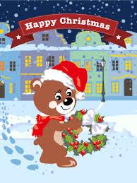 bear santa merry christmas card birthday u0026 greeting cards by davia