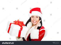beautiful woman wear santa clause stock photo 118814263