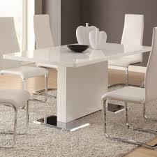 kitchen unique round table and white kitchen chairs on brown rug