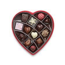 chocolate heart box satin embroidered heart chocolate gift box 14 pc godiva