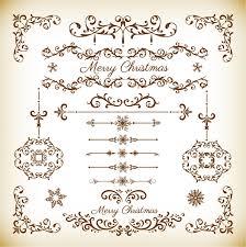 christmas decorative floral elements vector set free vector