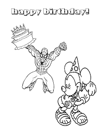 spiderman birthday coloring page spiderman and birthday cake coloring page h m coloring pages