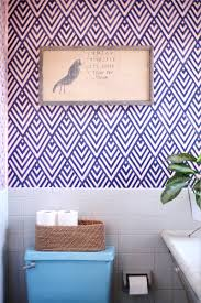bathroom stencil ideas create a wallpaper look with a geometric stencil a beautiful mess