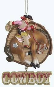 ornaments cowboy white bull cow boots and hat rodeo