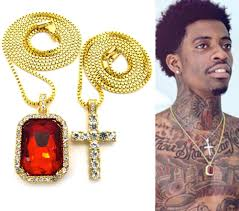 chain necklace hip hop images Mens iced out hip hop gold micro cross red ruby square pendant jpg