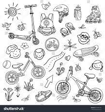 doodle sketch sporting goods kids vector stock vector 615590186