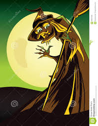 scary witch halloween poster with a broom waving hand stock