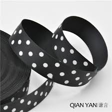 black grosgrain ribbon qianyan 5 yards 25mm printed dot black grosgrain ribbon christmas