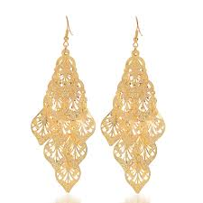 beautiful gold earrings vintage design drop earring for girl beautiful gold color leaves