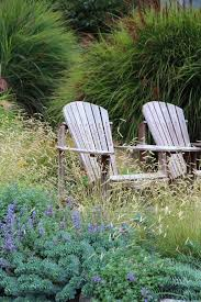 low maintenance garden landscape style with outdoor chairs