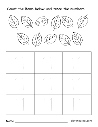 Preschool Worksheet Number Eleven Writing Counting And Identification Printable