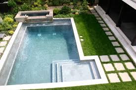 modern landscape design garden sophisticated blue mosaic pool